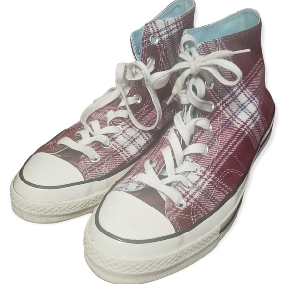 Converse Chuck 70 Plaid High Top Shoes Burgundy